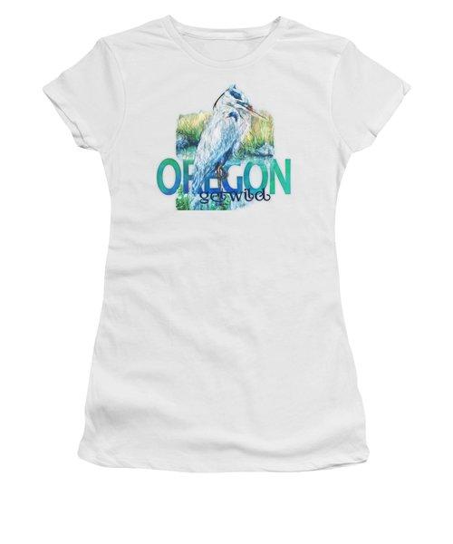 Puddletown Great Blue Heron Women's T-Shirt (Junior Cut) by Kara Skye