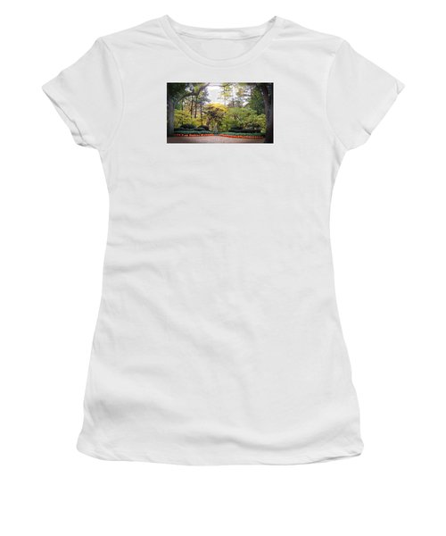 Pumpkins In A Row Women's T-Shirt (Junior Cut) by Teresa Schomig