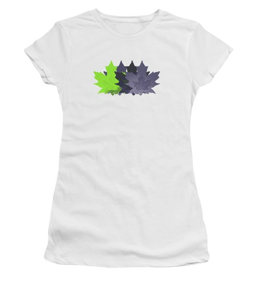 Purple And Green Leaves Women's T-Shirt (Junior Cut) by Methune Hively