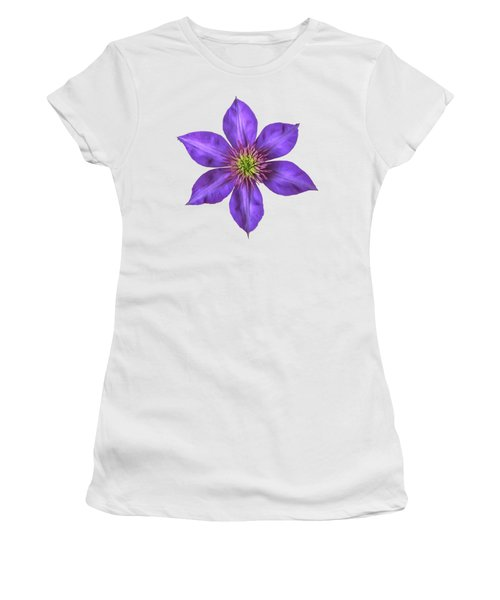 Purple Clematis Flower With Soft Look Effect Women's T-Shirt (Junior Cut) by Rose Santuci-Sofranko