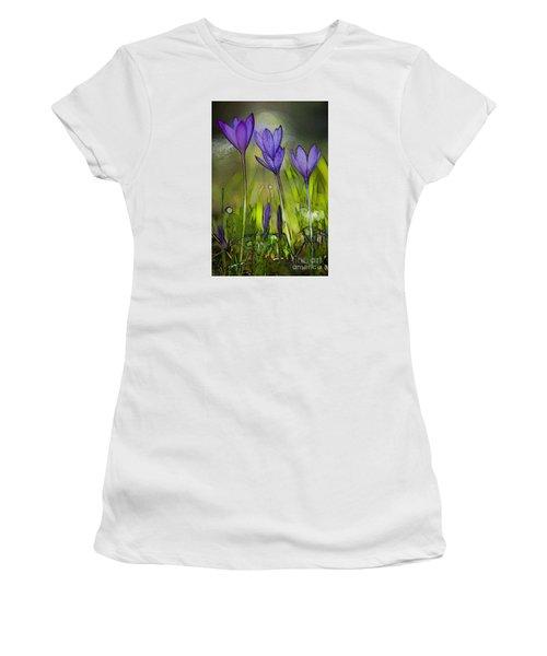 Women's T-Shirt (Junior Cut) featuring the photograph Purple Crocus Flowers by Jean Bernard Roussilhe