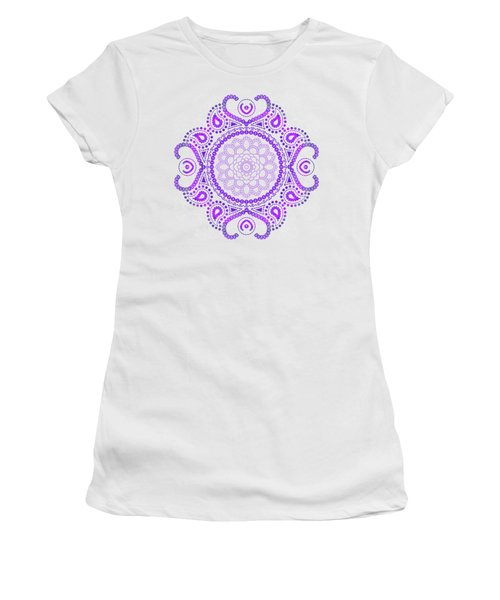 Women's T-Shirt (Junior Cut) featuring the digital art Purple Lotus Mandala by Tammy Wetzel