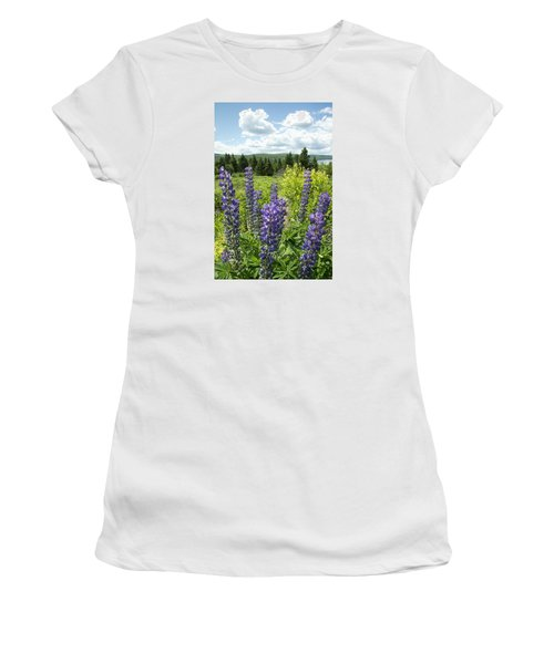 Women's T-Shirt (Junior Cut) featuring the photograph Purple Lupines by Paul Miller
