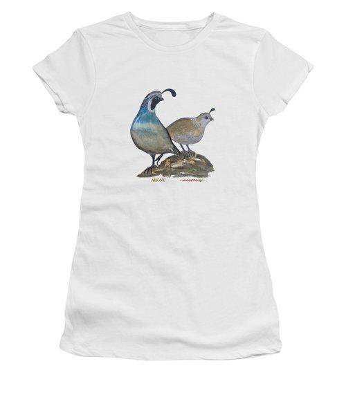 Quail Parents Wondering Women's T-Shirt (Athletic Fit)