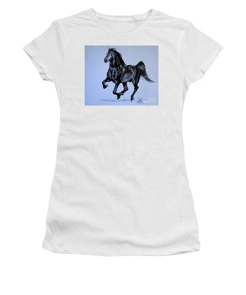 The Black Quarter Horse In Bic Pen Women's T-Shirt (Junior Cut) by Cheryl Poland