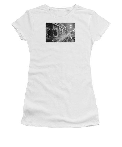 Women's T-Shirt featuring the photograph Quitting Time For Daytons Staff by Mike Evangelist