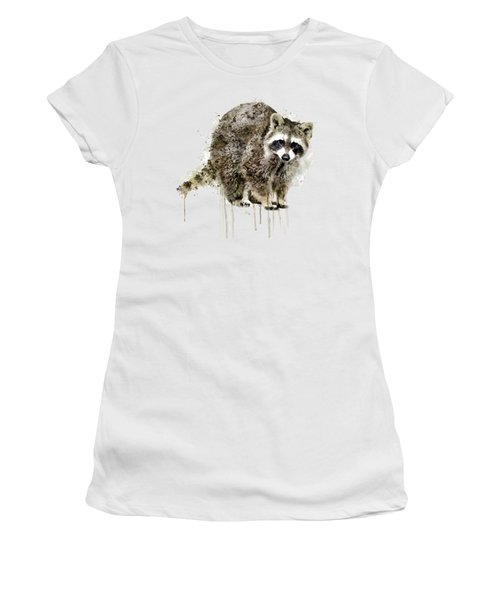 Raccoon Women's T-Shirt (Junior Cut) by Marian Voicu