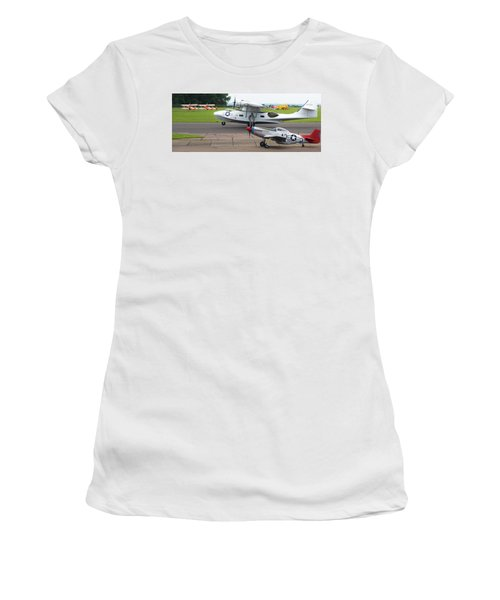 Women's T-Shirt (Athletic Fit) featuring the photograph Raf Scampton 2017 - P-51 Mustang With Pby-5a Landing by Scott Lyons