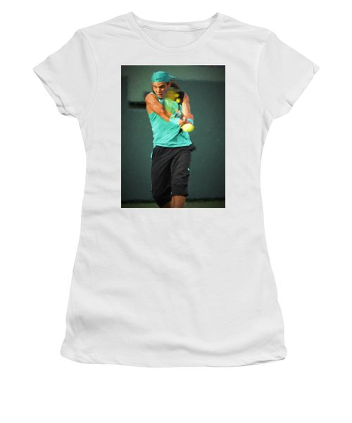Women's T-Shirt featuring the painting Rafael Nadal by Lou Novick