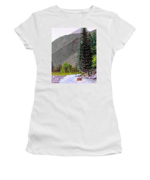 Women's T-Shirt featuring the painting Rafting The Gallatin by Kevin Daly
