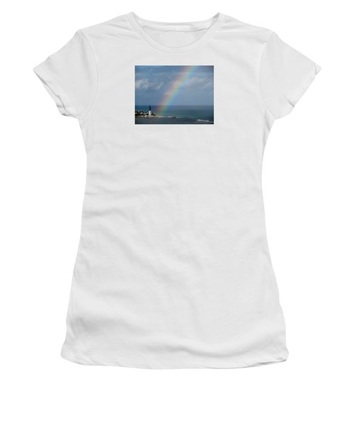 Rainbow At Lighthouse Women's T-Shirt (Athletic Fit)