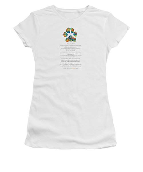 Rainbow Bridge Poem With Colorful Paw Print By Sharon Cummings Women's T-Shirt