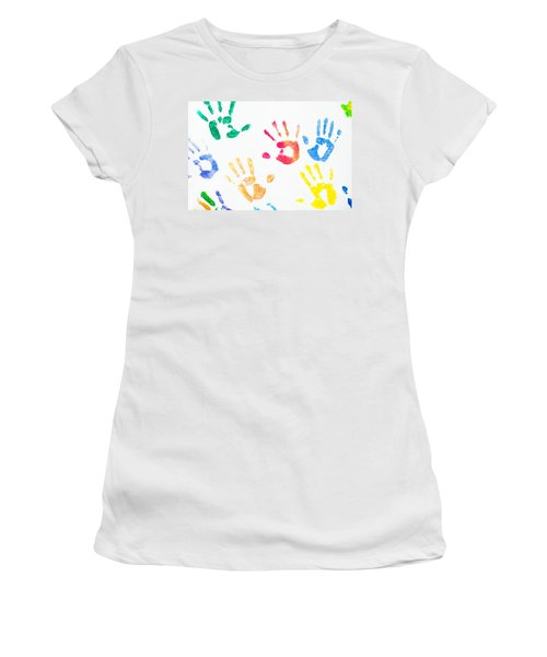 Women's T-Shirt (Athletic Fit) featuring the photograph Rainbow Color Arms Prints 1 by Jenny Rainbow