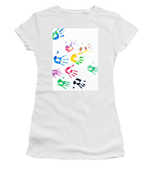 Women's T-Shirt (Athletic Fit) featuring the photograph Rainbow Color Arms Prints by Jenny Rainbow