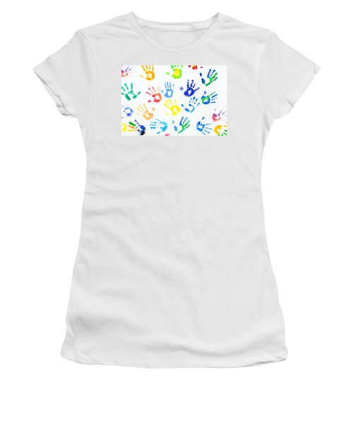 Women's T-Shirt (Junior Cut) featuring the photograph Rainbow Colors Arm Prints Abstract by Jenny Rainbow