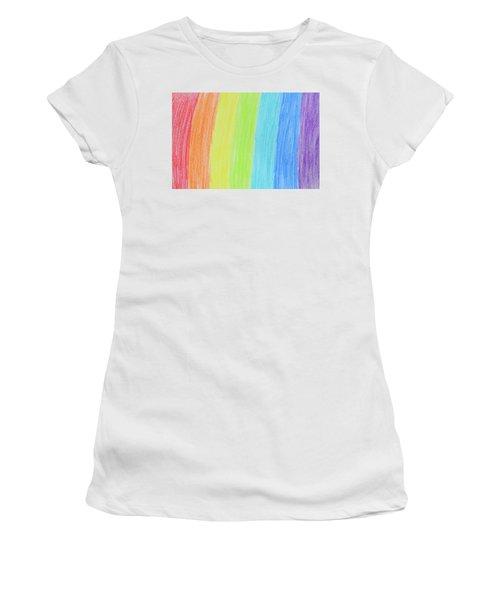 Rainbow Crayon Drawing Women's T-Shirt (Junior Cut) by GoodMood Art