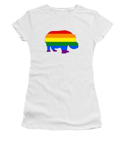 Rainbow Hippo Women's T-Shirt (Junior Cut) by Mordax Furittus