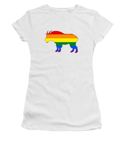 Rainbow Mountain Goat Women's T-Shirt (Junior Cut) by Mordax Furittus
