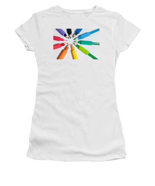 Rainbow Of Crayons Women's T-Shirt (Athletic Fit)