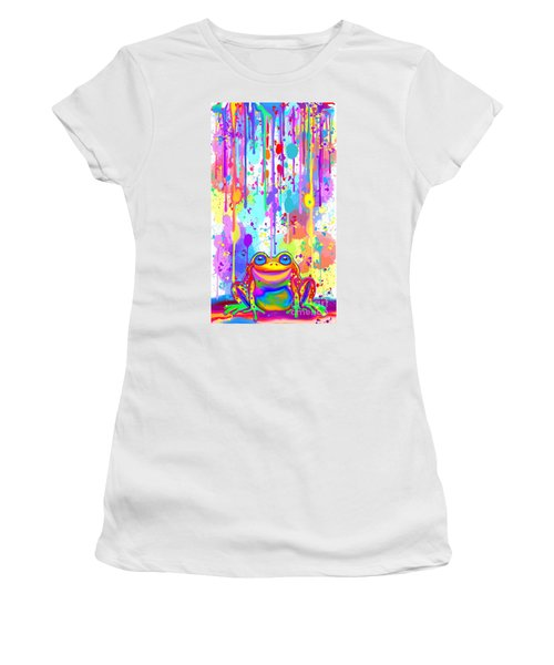 Women's T-Shirt (Junior Cut) featuring the painting Rainbow Painted Frog  by Nick Gustafson