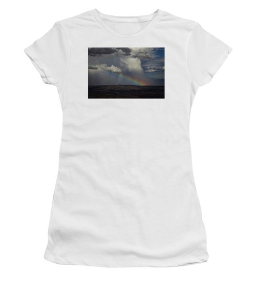 Rainbow Storm Over The Verde Valley Arizona Women's T-Shirt (Junior Cut) by Ron Chilston