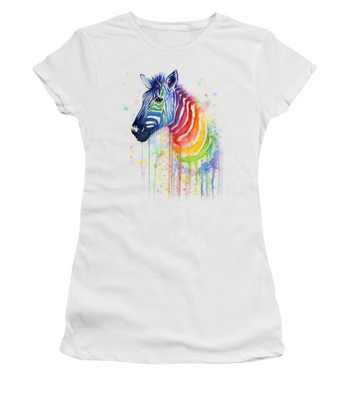 Rainbow Zebra - Ode To Fruit Stripes Women's T-Shirt (Athletic Fit)