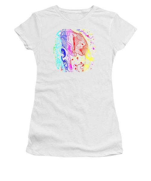 Rainbow Zentangle Elephant Women's T-Shirt (Junior Cut) by Becky Herrera