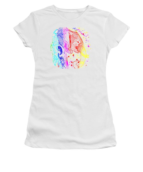 Rainbow Zentangle Elephant Women's T-Shirt (Athletic Fit)