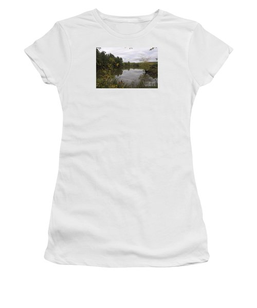 Women's T-Shirt (Junior Cut) featuring the photograph Rainy Day Reflections by Sandra Updyke