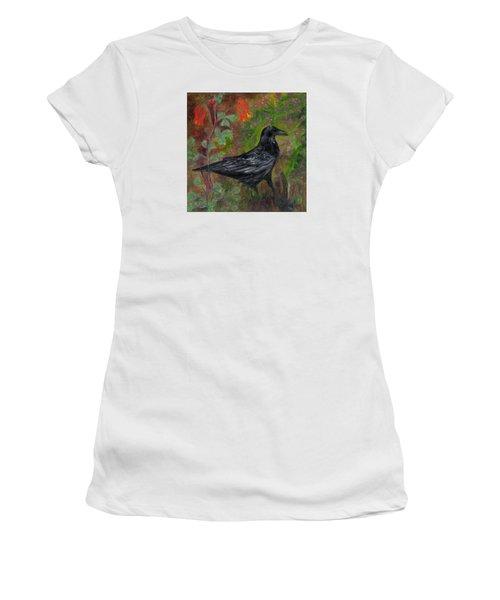 Raven In Columbine Women's T-Shirt (Junior Cut) by FT McKinstry