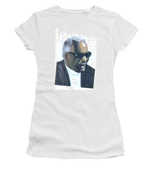 Women's T-Shirt (Junior Cut) featuring the painting Ray Charles by Emmanuel Baliyanga