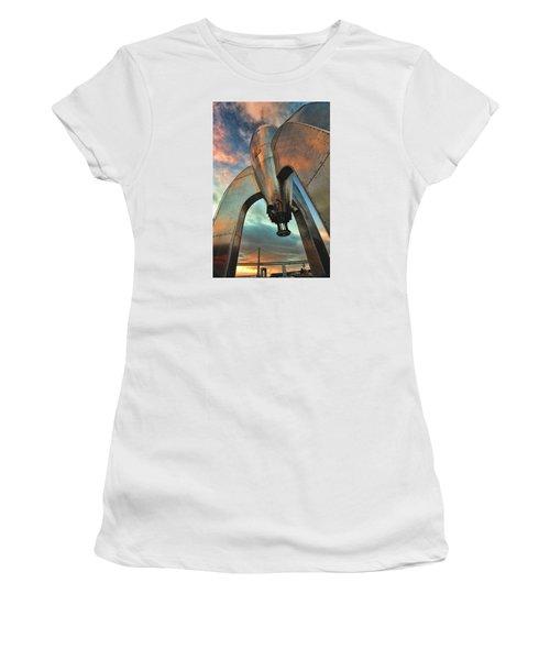 Raygun Gothic Rocketship Blast-off Women's T-Shirt (Junior Cut) by Steve Siri
