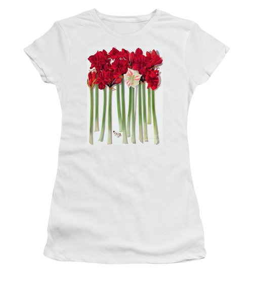 Red Amaryllis With Butterfly Women's T-Shirt