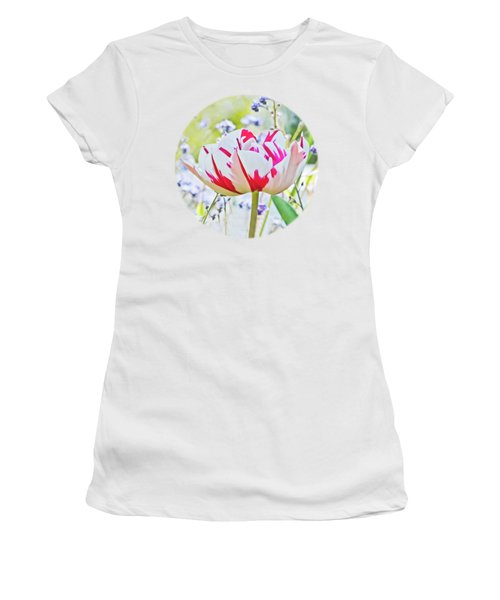 Red And White Tulip Women's T-Shirt (Junior Cut) by Terri Waters