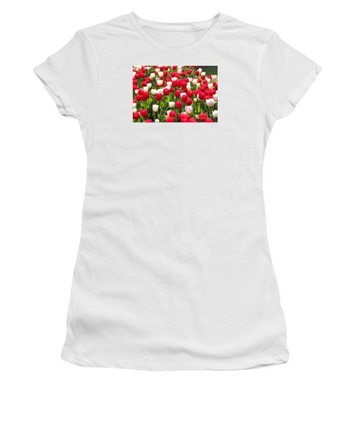 Red And White Tulips Women's T-Shirt (Junior Cut) by Bev Conover