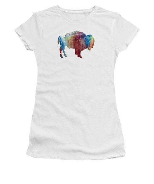 Red Bison Women's T-Shirt (Junior Cut) by Mordax Furittus
