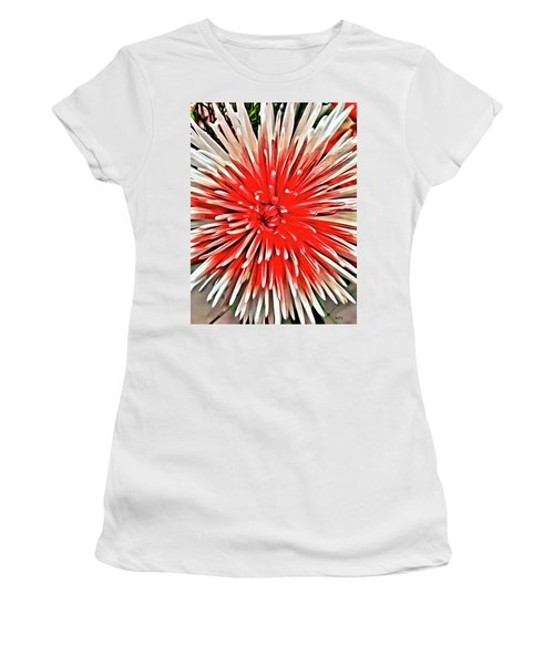 Women's T-Shirt featuring the painting Red Burst by Marian Palucci-Lonzetta