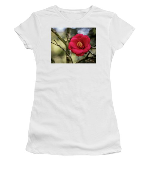 Women's T-Shirt (Junior Cut) featuring the photograph Red Camelia 05 by Gregory Daley  PPSA