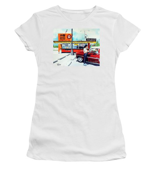 Red Car At The A And W Women's T-Shirt (Junior Cut) by Tom Riggs
