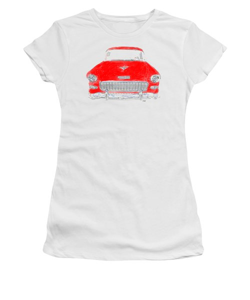 Women's T-Shirt featuring the drawing Red Chevy T-shirt by Edward Fielding