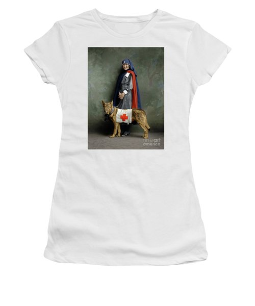 Women's T-Shirt (Athletic Fit) featuring the photograph Red Cross Nurse by Granger