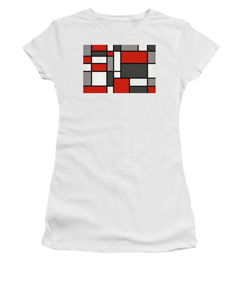 Red Grey Black Mondrian Inspired Women's T-Shirt (Athletic Fit)