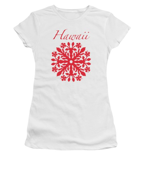 Hawaii Red Hibiscus Quilt Women's T-Shirt (Junior Cut) by James Temple