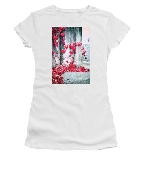 Women's T-Shirt (Junior Cut) featuring the photograph Red Ivy Leaves by Silvia Ganora