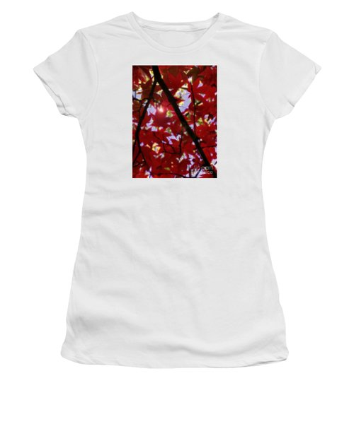 Women's T-Shirt (Junior Cut) featuring the digital art Red Leaves In Light by Haleh Mahbod