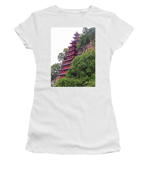 Red Pagoda Women's T-Shirt (Athletic Fit)