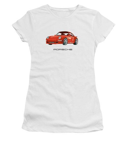 Red Porsche 993 1997 Twin Turbo R Women's T-Shirt (Junior Cut) by Jack Pumphrey