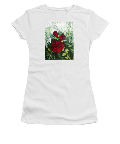 Red Roses In Bloom Women's T-Shirt (Junior Cut) by Roxy Rich