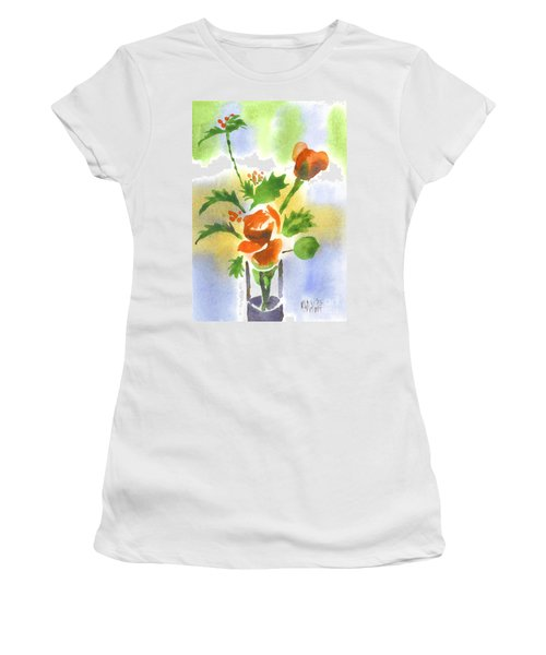 Women's T-Shirt (Junior Cut) featuring the painting Red Roses With Holly by Kip DeVore