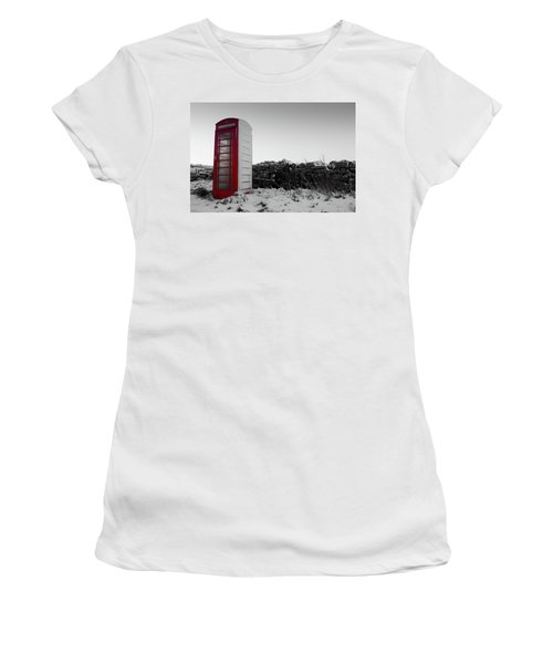 Red Telephone Box In The Snow Vi Women's T-Shirt